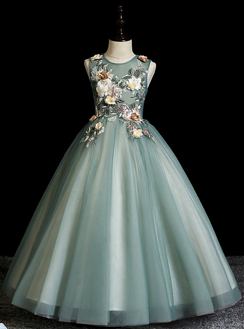 Long & Short Made-To-Measure Green Ball Gown Tulle Sleeveless Embroidery Appliques Flower Girl Dress
