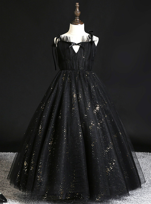 The Best Black Ball Gown Tulle Sequins Pleats Spagehtti Straps Flower Girl Dress