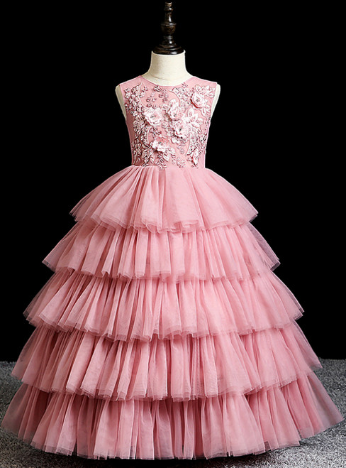 The Best Discount Pink Ball Gown Tulle Tiers Appliques Flower Girl Dress