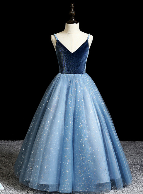 Shop For Cute Blue Ball Gown Tulle Spagehtti Straps Sequins Flwoer Girl Dress