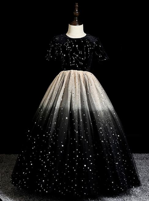 The Cheap Price Black Ball Gown Tulle Sequins Short Sleeve Flower Girl Dress