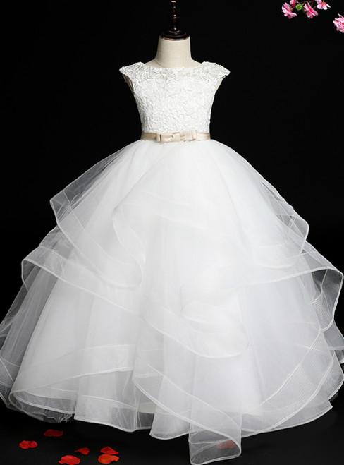 Enjoy The White Ball Gown Tulle Cap Sleeve Appliques Flower Girl Dress