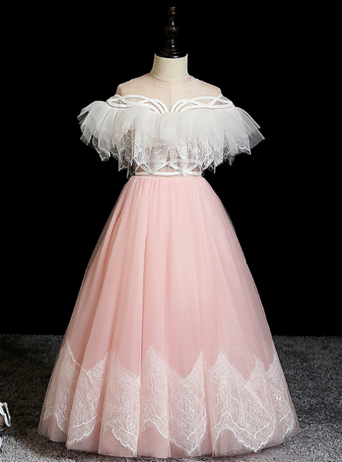 We Specialize In Custom Made A-Line Pink Tulle Lace Floor Length Flower Girl Dress