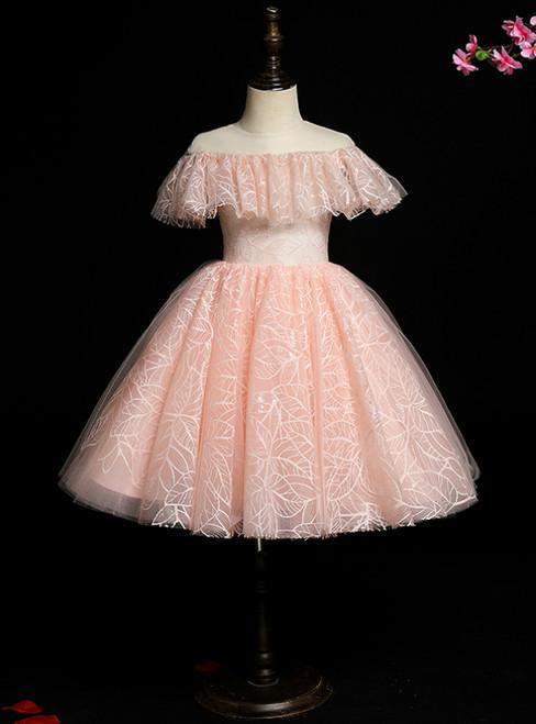 Brand New Pink Ball Gown Tulle Scoop Knee Length Flower Girl Dress