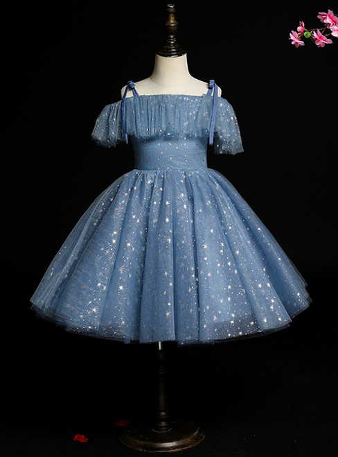 Find The Perfect Blue Bal Gown Tulle Spaghetti Straps Sequins Flower Girl Dress