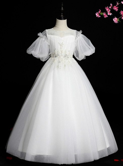 Looking For Gorgeous Blue Ball Gown Tulle Puff Sleeve Appliques Flower Girl Dress