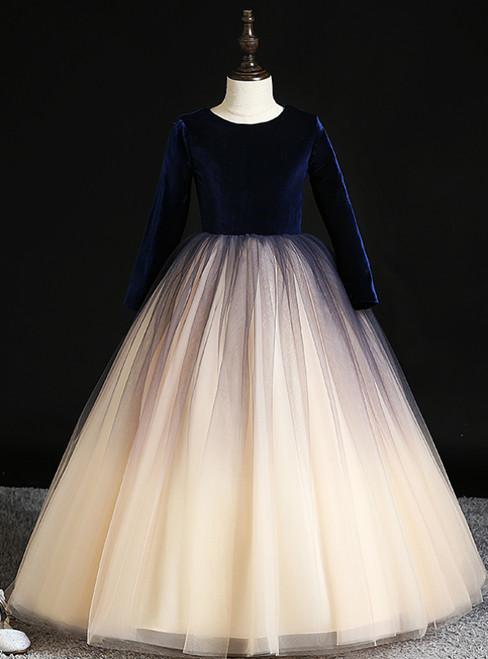 Be The Prom Queen In Champagne Tulle Blue Velvet Long Sleeve Flower Girl Dress