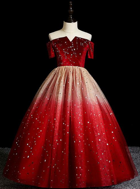 Shop Designer Burgundy Ball Gown Tulle Sequins Velvet Off the Shoulder Short Sleeve