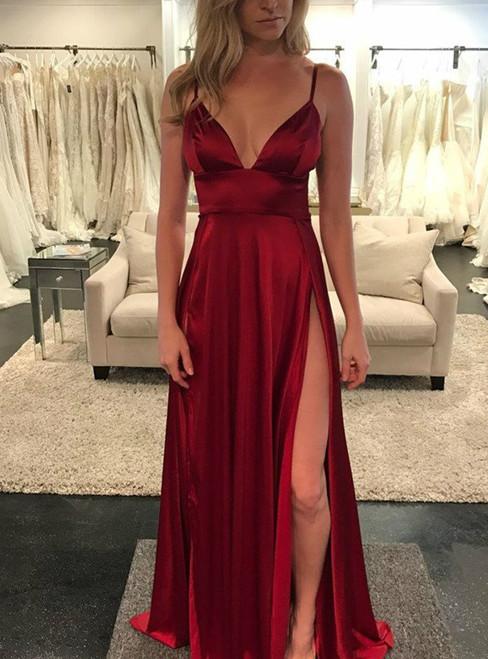 Deep V-neckline Satin Long Evening Dress with High Side Slit