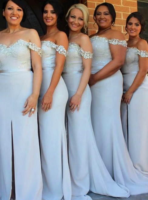 long bridesmaid dress mermaid bridesmaid dress slit bridesmaid dress