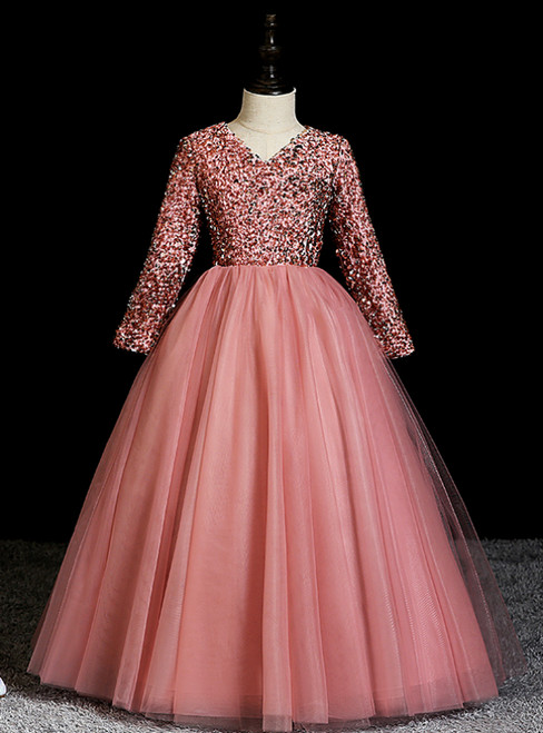 Find The Perfect Shade Of Pink Ball Gown Tulle Sequins V-neck Long Sleeve Flower Girl Dress