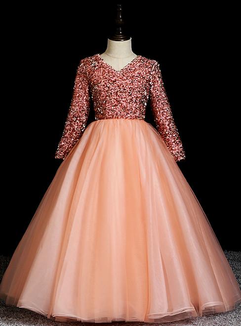 Buy From Pink Ball Gown Tulle Sequins V-neck Long Sleeve Long Flower Girl Dress