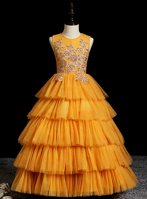 Demand Attention In Pink Ball Gown Tulle Tiers Appliques Sequins Flower Girl Dress