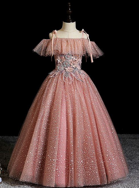 Pink Ball Gown Tulle Spagehtti Sraps Appliques Flower Girl Dress