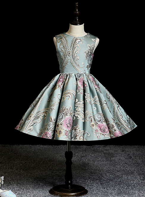 We Offer a Large Numbers Of Green Ball Gown Satin Embroidery Knee Length Flower Girl Dress