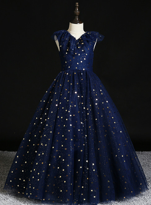 We Offer a Variety Of Navy Blue Tulle Sequins V-neck Flower Girl Dress