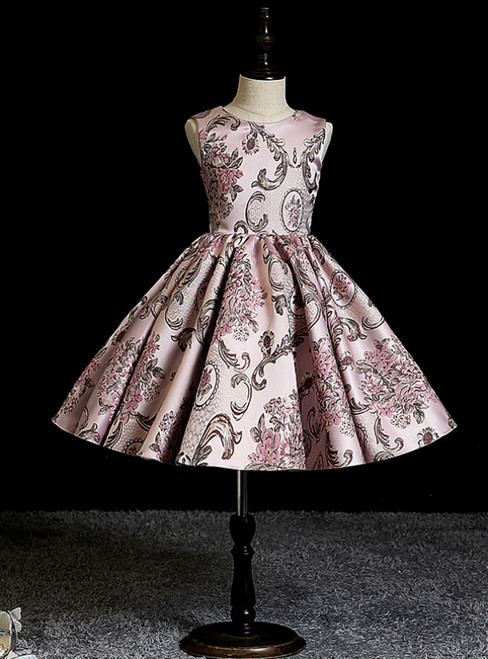 Best Discount And High Quality Pink Ball Gown Satin Embroidery Knee Length Short Flower Girl Dress