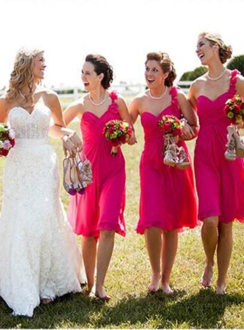 Hot Pink Bridesmaid Dresses Cute Bridesmaid Dress Knee Length bridesmaid dress