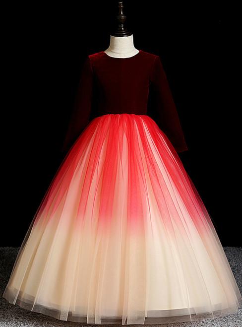 Discover The Latest Burgundy Tulle Champagne Velvet Long Sleeve Flower Girl Dress