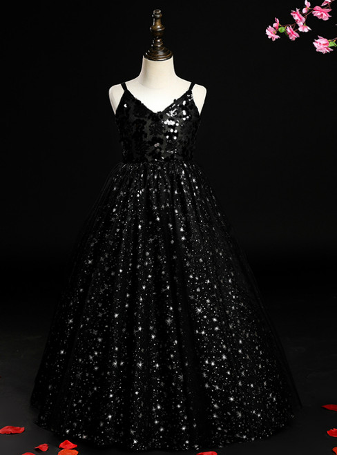 Purchase Your Favorite A-line Black Sequins Spagehtti Straps Flower Girl Dress