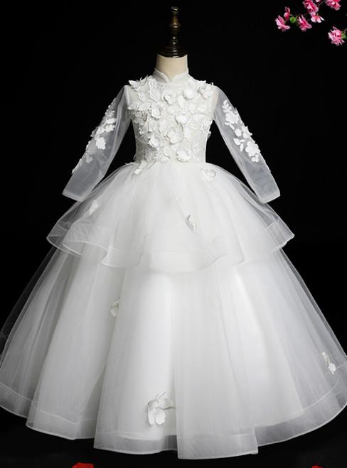 We Provide White Ball Gown Tulle Long Sleeve High Neck Appliques Flower Girl Dress