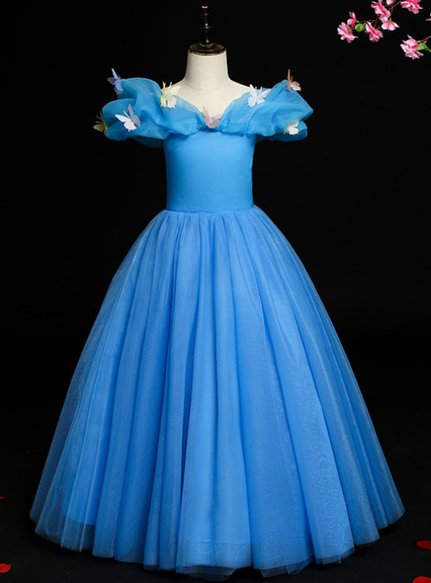 You Are Sure To Find The Perfect Blue Ball Gown Tulle Off ther Shoulder Butterfly Flower Girl Dress