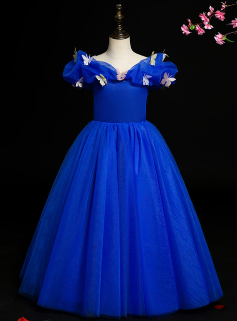 The Worldwide Shipping Online Store Royal Blue Tulle Off the Shoulder Butterfly Flower Girl Dress