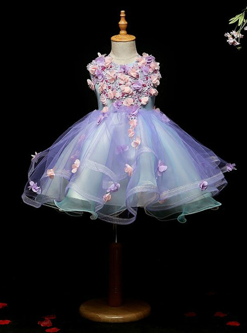 At Great Prices Blue Ball Gown Appliques Scoop Sleeveless Flower Girl Dress