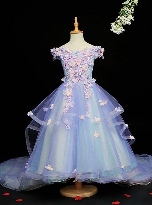 For Your Big Night Blue Ball Gown Tulle Hi Lo Off the Shoulder Appliques Flower Girl Dress