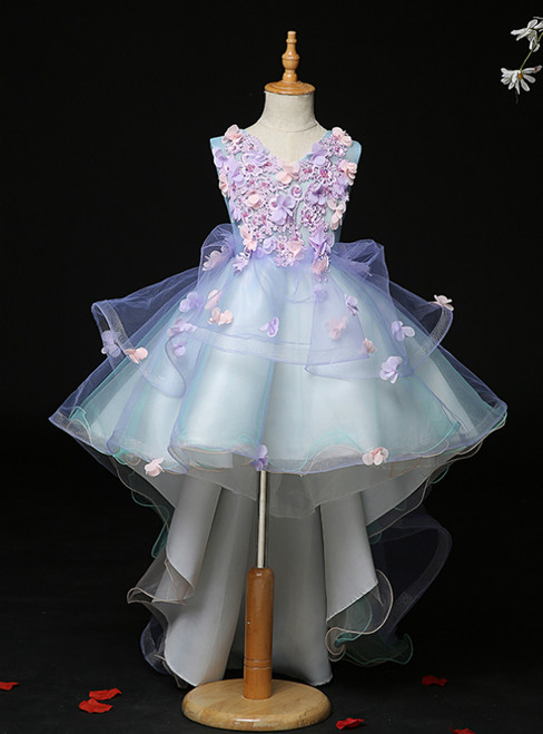 Available In Sizes 0-24 Blue Tulle V-neck Hi Lo Appliques Flower Girl Dress