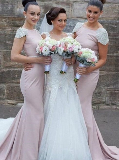 Cap Sleeves Bridesmaid Dress Mermaid Bridesmaid Dress Pink Bateau