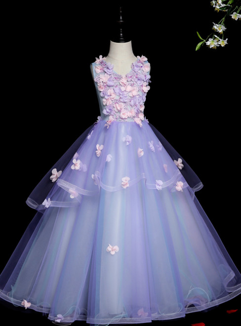 Best For You Blue Ball Gown Tulle Appliques V-neck Flower Girl Dress
