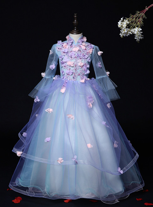 Is Now Available. Blue Ball Gown High Neck Long Sleeve Appliques Flower Girl Dress
