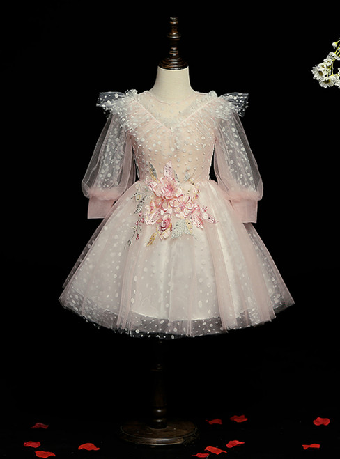 Shops Around The World Pink Ball Gown Tulle Long Sleeve Wave Point Flower Girl Dress