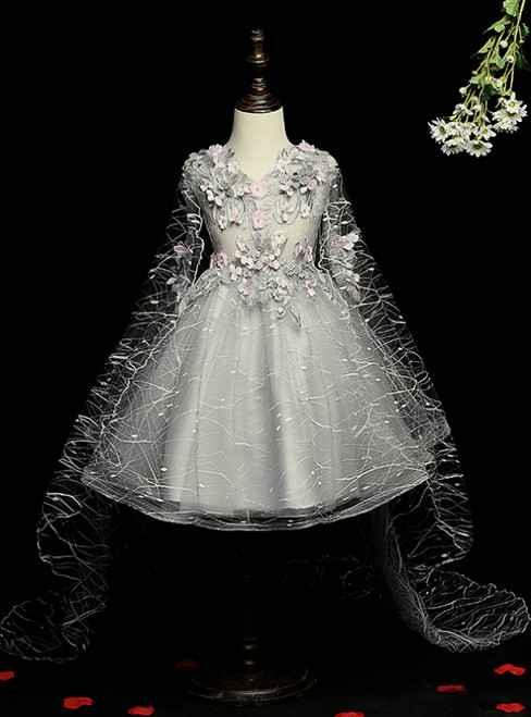 Check Out Entire Collection Gray Ball Gown Tulle V-neck Appliques Flower Girl Dress