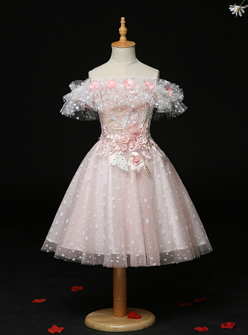 For This Year's Biggest Dance Pink Tulle Wave Point Off the Shoulder Appliques Flower Girl Dress