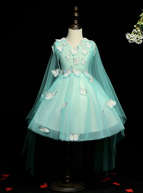 Make Your Prom a Dream A-Line Green Tulle V-neck Butterfly Appliques Flower Girl Dress
