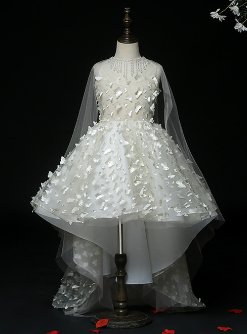 An Extra 40% Off Storewide Champagne Ball Gown Tulle Butterfly Appliques Hi Lo Flower Girl Dress