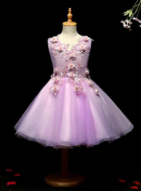 To Choose From A-line Pink Tulle Appliques Knee Length Flower Girl Dress