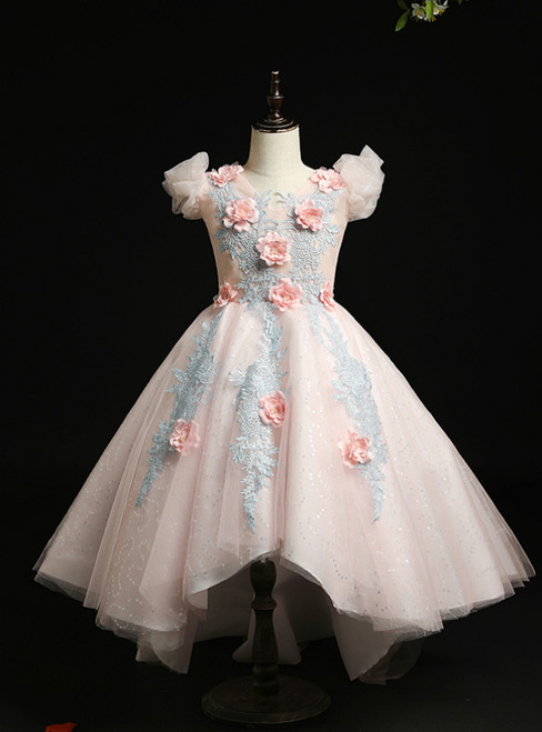 In One Step Pink Ball Gown Tulle Hi Lo Appliques V-neck Flower Girl Dress