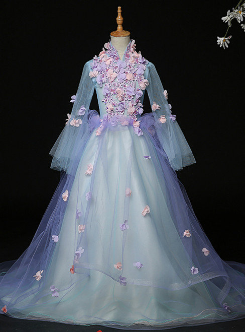 Is a Rite Of Passage Blue Tulle High Neck Long Sleeve Appliques Flower Girl Dress