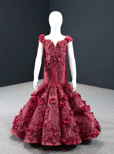 The Largest Variety Of Styles Burgundy Mermaid Off the Shoulder 3D Appliques Flower Girl Dress