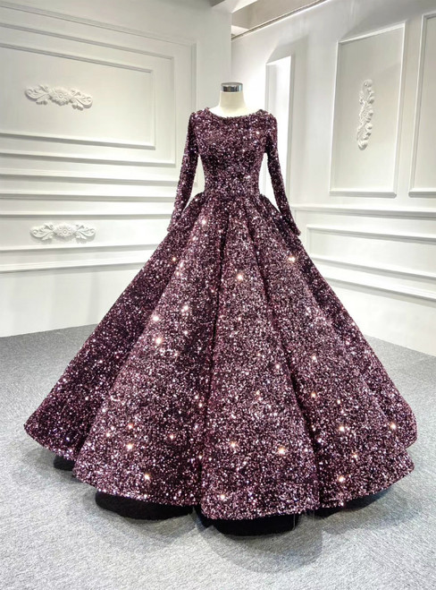 To Fit Your Style Fashion Pink Ball Gown Sequins Long Sleeve Prom Dress
