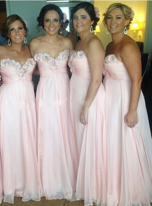 Bridesmaid Dress Sexy Bridesmaid Dresses Beaded Evening Dress pink Appliques Evening Gowns
