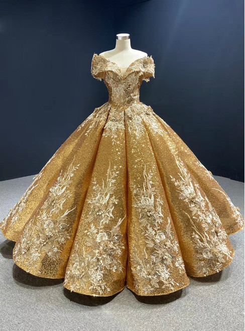 Come In a Wide Variety Of On-Trend Styles, Gold Ball Gown Sequins Off the Shoulder Appliques Prom Dress