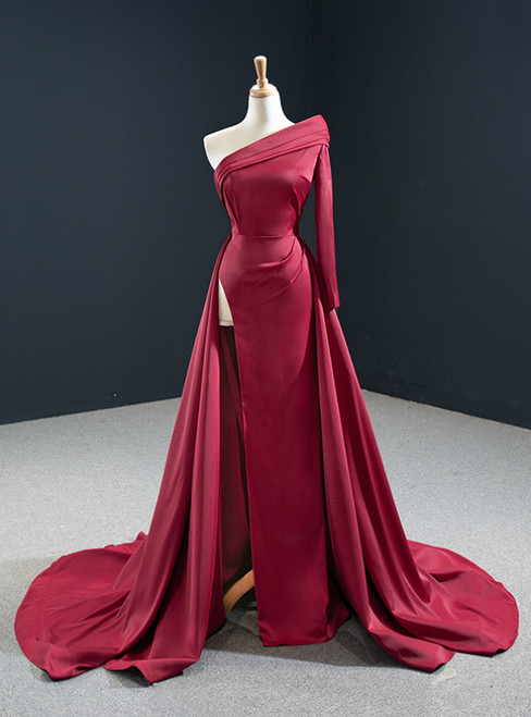 Will Be Available For Purchase Burgundy Mermaid Satin One Shoulder Long Sleeve Pleats Prom Dress