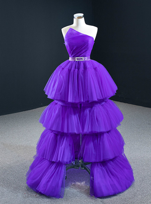 Come In All Styles And Colors Purple Ball Gown Hi Lo Strapless Pleats Tiers Prom Dress With Belt