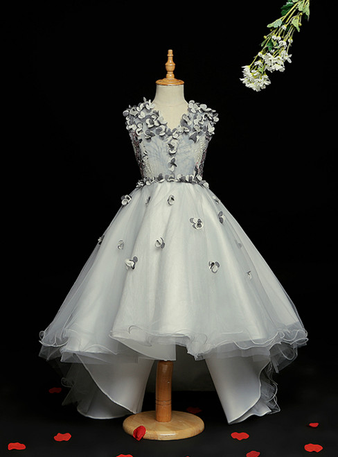 With 28 Colors Available. Gray Ball Gown Tulle Hi Lo V-neck Appliques Flower Girl Dress