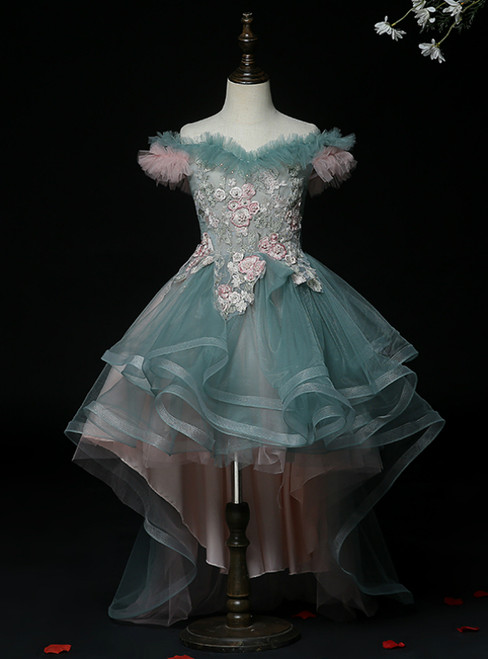 Wear a Classic Dark Green Tulle Hi Lo Off the Shoulder Appliques Flower Girl Dress