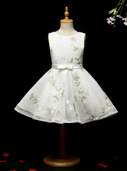 Looking For Cute And Stylish A-line White Tulle Embrodiery Short Flower Girl Dress